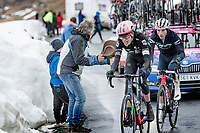 Hugh Carthy (GBR/EF Education - Nippo), Giulio Ciccone (ITA/Trek - Segafredo) coming over the Passo Giau<br /> <br /> due to the bad weather conditions the stage was shortened (on the raceday) to 153km and the Passo Giau became this years Cima Coppi (highest point of the Giro).<br /> <br /> 104th Giro d'Italia 2021 (2.UWT)<br /> Stage 16 from Sacile to Cortina d'Ampezzo (shortened from 212km to 153km)<br /> <br /> ©kramon