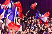 MARINE LE PEN, CANDIDATE A L'ELECTION PRESIDENTIELLE DE 2017, FAIT SON PREMIER GRAND MEETING DE L'ENTRE DEUX TOURS AU PALAIS NIKAIA A NICE, FRANCE, LE JEUDI 27 AVRIL 2017.