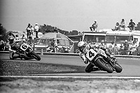 Eddie Lawson, #4 Yamaha, leads Wayne Rainey, #6 Honda, Daytona 200, AMA Superbikes, Daytona International Speedway, Daytona Beach, FL, March 9, 1986.(Photo by Brian Cleary/bcpix.com)