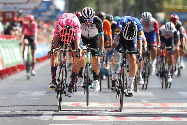 Magnus Cort Nielsen (DEN) EF Education-Nippo outsprints Andrea Bagioli (ITA) Deceuninck-Quick Step to win Stage 12 of La Vuelta d'Espana 2021, running 175km from Jaén to Córdoba, Spain. 26th August 2021.     <br /> Picture: Luis Angel Gomez/Photogomezsport | Cyclefile<br /> <br /> All photos usage must carry mandatory copyright credit (© Cyclefile | Luis Angel Gomez/Photogomezsport)