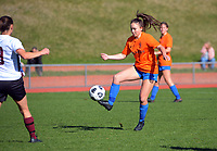 Action from the Kate Sheppard Cup football match between Wellington United and Kapiti Coast United at Newtown Park in Wellington, New Zealand on Saturday, 15 May 2021. Photo: Dave Lintott / lintottphoto.co.nz