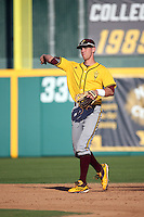 Colby Woodmansee (37) of the Arizona State Sun Devils makes a throw during a game against the Long Beach State Dirtbags at Blair Field on February 27, 2016 in Long Beach, California. Long Beach State defeated Arizona State, 5-2. (Larry Goren/Four Seam Images)