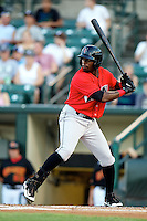 Indianapolis Indians outfielder Brandon Boggs #25 at bat during a game against the Empire State Yankees at Frontier Field on August 4, 2012 in Rochester, New York.  Empire State defeated Indianapolis 9-8 in ten innings.  (Mike Janes/Four Seam Images)
