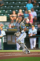Bradenton Marauders catcher Endy Rodriguez (5) during a game against the Daytona Tortugas on June 12, 2021 at LECOM Park in Bradenton, Florida.  (Mike Janes/Four Seam Images)