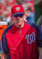 28 September 2014: Washington Nationals Manager Matt Williams walks the dugout during play against the Miami Marlins at Nationals Park in Washington, DC. The Nationals shut out the Marlins 1-0, caping the season with the first Nationals no-hitter in modern times. The win also notched a 96 win season for the Nats: the best record in the National League. Mandatory Credit: Ed Wolfstein Photo *** RAW (NEF) Image File Available ***