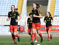 20180307 - LARNACA , CYPRUS :  Belgian Nicky Van Den Abbeele and Silke Vanwynsberghe (r) pictured during a women's soccer game between  South Africa and the Belgian Red Flames  , on Wednesday 7 March 2018 at the GSZ Stadium in Larnaca , Cyprus . This is the final game in a decision for 5th or 6th place for Belgium during the Cyprus Womens Cup , a prestigious women soccer tournament as a preparation on the World Cup 2019 qualification duels. PHOTO SPORTPIX.BE | DAVID CATRY