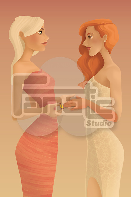 Illustration of two young women in love getting married over colored background