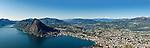 Switzerland, Ticino, view from Monte Bre across Lago Lugano and Lugano city with Monte San Salvatore | Schweiz, Tessin, Blick vom Monte Bre auf Lugano am Luganer See mit dem Hausberg Monte San Salvatore