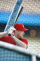 Gary Bennett of the St. Louis Cardinals during batting practice before a game from the 2007 season at Dodger Stadium in Los Angeles, California. (Larry Goren/Four Seam Images)