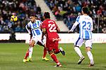 CD Leganes's Youssef En-Nesyri and Getafe CF's Damian Suarez fight for the ball during La Liga match between CD Leganes and Getafe CF at Butarque Stadium in Leganes, Spain. December 07, 2018. (ALTERPHOTOS/A. Perez Meca)