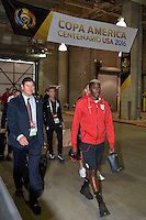 Houston, TX - Tuesday June 21, 2016: Gyasi Zardes, United States arriving prior to a Copa America Centenario semifinal match between United States (USA) and Argentina (ARG) at NRG Stadium.