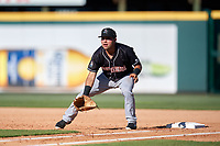 Jupiter Hammerheads first baseman Eric Gutierrez (13) during the second game of a doubleheader against the Bradenton Marauders on May 27, 2018 at LECOM Park in Bradenton, Florida.  Jupiter defeated Bradenton 4-1.  (Mike Janes/Four Seam Images)