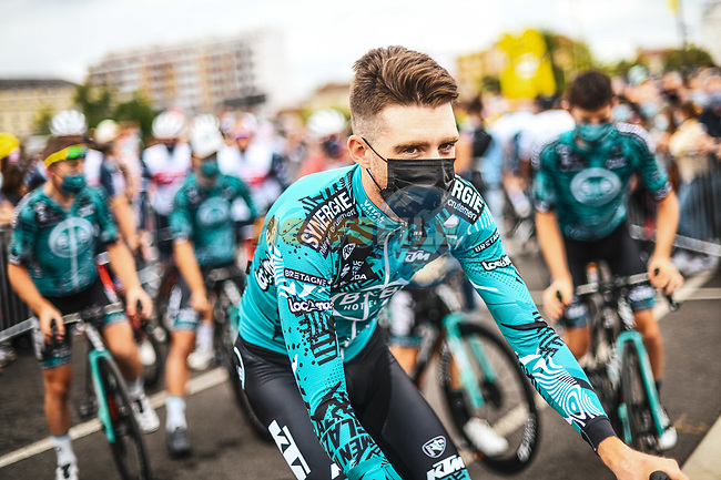 Quentin Parcher (FRA) B&B Hotels/KTM at sign on before Stage 18 of the 2021 Tour de France, running 129.7km from Pau to Luz Ardiden, France. 15th July 2021.  <br /> Picture: A.S.O./Charly Lopez | Cyclefile<br /> <br /> All photos usage must carry mandatory copyright credit (© Cyclefile | A.S.O./Charly Lopez)