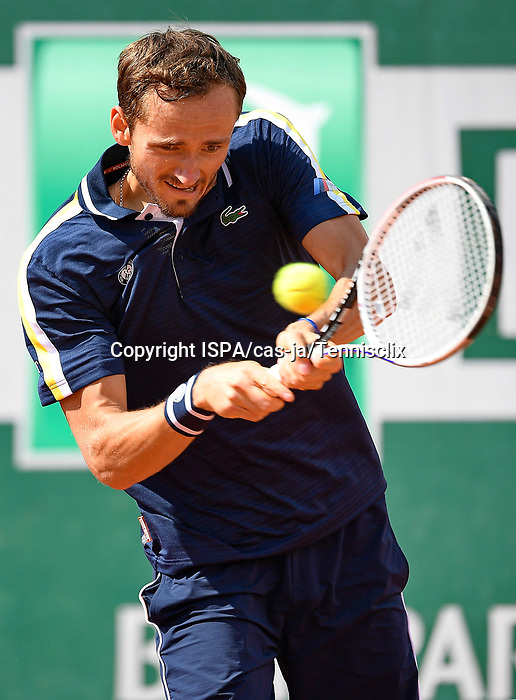 Daniil Medvedev (RUS) plays against Reilly Opelka (USA) during their third round match of french open tennis tournament at Roland Garros in Paris, France. Friday june 4, 2021.