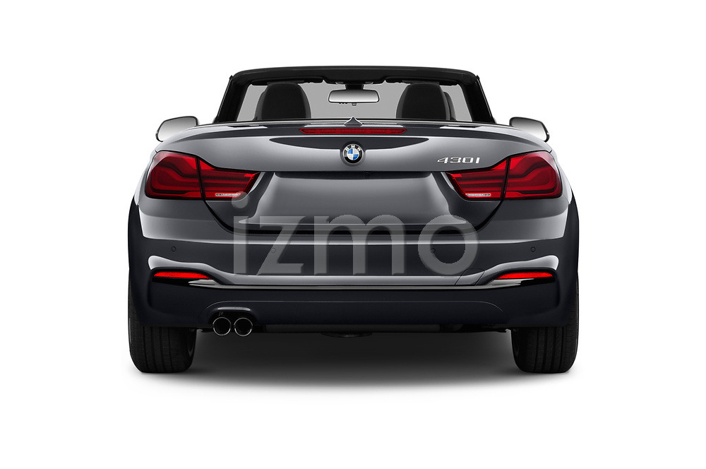 Straight rear view of a 2018 BMW 4 Series 430i 2 Door Convertible stock images