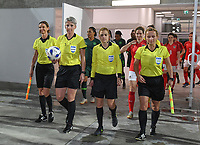 20190227 - LARNACA , CYPRUS : referees pictured with Czech Lucie Ratajova , Czech Jana Adamkova , Cypriot Ioanna Allayiotou and Slovakian Maria Sukenikova during a women's soccer game between the Super Falcons of Nigeria and Austria , on Wednesday 27 February 2019 at the AEK Arena in Larnaca , Cyprus . This is the first game in group C for both teams during the Cyprus Womens Cup 2019 , a prestigious women soccer tournament as a preparation on the Uefa Women's Euro 2021 qualification duels. PHOTO SPORTPIX.BE | DAVID CATRY