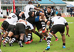 Akira Ioane (c) and Tawera Kerr-Barlow. Maori All Blacks vs. Fiji. Suva. MAB's won 27-26. July 11, 2015. Photo: Marc Weakley