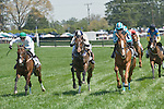 25 Apr 2009: (l to r) Rainiero with Jody Petty (3rd), Old Timer with James Slater (2nd) and Good Night Shirt with William Dowling (1st) in the Foxfield Chase flat race at the Foxfield Races in Charlottesville, Virginia.