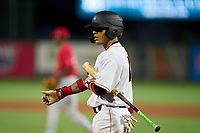 Jupiter Hammerheads Victor Mesa Jr. (10) bats during a game against the Palm Beach Cardinals on May 11, 2021 at Roger Dean Chevrolet Stadium in Jupiter, Florida.  (Mike Janes/Four Seam Images)
