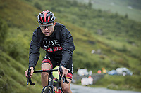 Marc Hirschi (SUI/UAE-Emirates) up the Cormet de Roselend<br /> <br /> Stage 9 from Cluses to Tignes (144.9km)<br /> 108th Tour de France 2021 (2.UWT)<br /> <br /> ©kramon