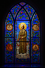 April 7, 2021; St. Andre Besset stained glass window in the Stinson Remick chapel (Photo by Matt Cashore/University of Notre Dame)