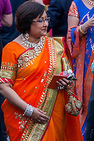 Jaipur, Rajasthan, India.  Rajasthani Woman in Sari with Jewelry at a Wedding Reception.