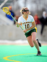 5 April 2008: University of Vermont Catamounts' Midfielder Megan MacDonald, a Freshman from Wayland, MA, in action against the University at Albany Great Danes at Moulton Winder Field, in Burlington, Vermont. With only seconds left in regulation time, the Catamounts rallied to defeat the visiting Danes 11-10 in America East conference play...Mandatory Photo Credit: Ed Wolfstein Photo