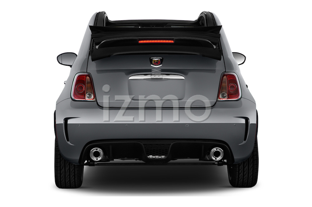 Straight rear view of 2017 Fiat 500c Abarth-Cabrio 2 Door Convertible Rear View  stock images