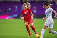ORLANDO, FL - FEBRUARY 21: Janine Beckie #16 of the CANWNT defends the ball during a game between Argentina and Canada at Exploria Stadium on February 21, 2021 in Orlando, Florida.