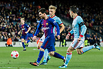 Lionel Andres Messi (L) of FC Barcelona fights for the ball with Daniel Wass (C) and Hugo Mallo Novegil of RC Celta de Vigo during the Copa Del Rey 2017-18 Round of 16 (2nd leg) match between FC Barcelona and RC Celta de Vigo at Camp Nou on 11 January 2018 in Barcelona, Spain. Photo by Vicens Gimenez / Power Sport Images