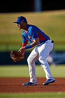 AZL Cubs 2 first baseman Abraham Rodriguez (12) during an Arizona League game against the AZL Dbacks on June 25, 2019 at Sloan Park in Mesa, Arizona. AZL Cubs 2 defeated the AZL Dbacks 4-0. (Zachary Lucy/Four Seam Images)