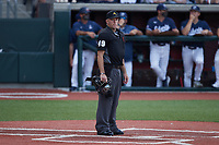 Home plate umpire Stephen Hagan during the NCAA baseball game between the Bellarmine Knights and the Liberty Flames at Liberty Baseball Stadium on March 9, 2021 in Lynchburg, VA. (Brian Westerholt/Four Seam Images)