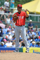 Erie SeaWolves pitcher Ryan Robowski (8) during game against the Trenton Thunder at ARM & HAMMER Park on May 29 2013 in Trenton, NJ.  Trenton defeated Erie 3-1.  Tomasso DeRosa/Four Seam Images