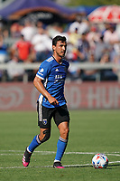 SAN JOSE, CA - AUGUST 8: Oswaldo Alanis #4 of the San Jose Earthquakes during a game between Los Angeles FC and San Jose Earthquakes at PayPal Park on August 8, 2021 in San Jose, California.