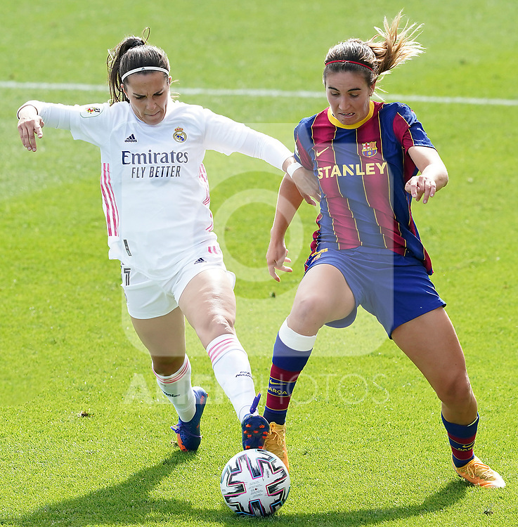 First official match and first classic in the history of women's Real Madrid.<br /> Real Madrid's Marta Cardona (l) and FC Barcelona's Mariona Caldentey during Spanish Female League match. October 4,2020. (ALTERPHOTOS/Acero)
