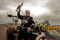 May 1, 2011; Baytown, TX, USA: NHRA top fuel dragster driver Del Worsham celebrates after winning the Spring Nationals at Royal Purple Raceway. Mandatory Credit: Mark J. Rebilas-