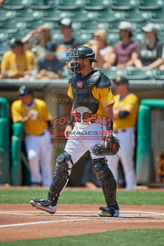 Drew Butera (18) of the Salt Lake Bees during the game against the Las Vegas Aviators at Smith's Ballpark on June 27, 2021 in Salt Lake City, Utah. The Aviators defeated the Bees 5-3. (Stephen Smith/Four Seam Images)