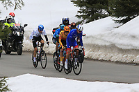 20th April 2021; Cycling Tour of the Alps Stage 2, Innsbruck, Feichten Im Kaunertal Austria; Reuben Thompson Groupama-FDJ, Morten Hulgaard Uno-XEN Davide Bais Eolo-Kometa and Mathias Vacek Gazprom-RusVelo