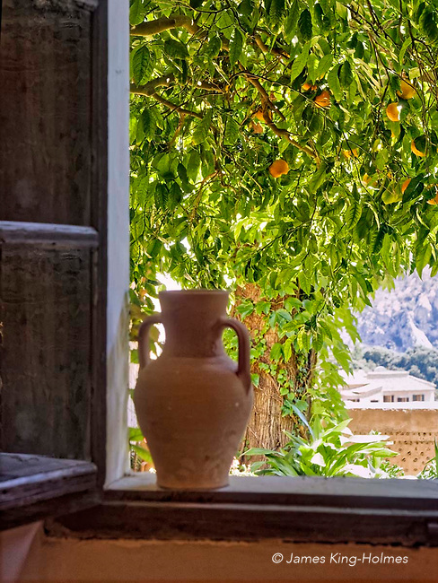 The view from the window of Cell 4 in the Carthusian Charterhouse monastery in Valldemossa, Mallorca, where Frédéric Chopin spent several months in 1838 with his lover Amantine-Lucile-Aurore Dupin who wrote as George Sand. Ripe fruit can be seen on the orange tree.