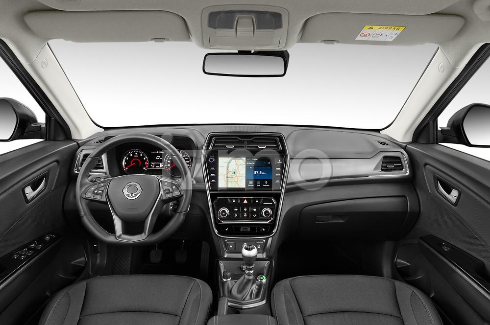 Stock photo of straight dashboard view of 2020 Ssangyong Tivoli Quartz 5 Door SUV Dashboard