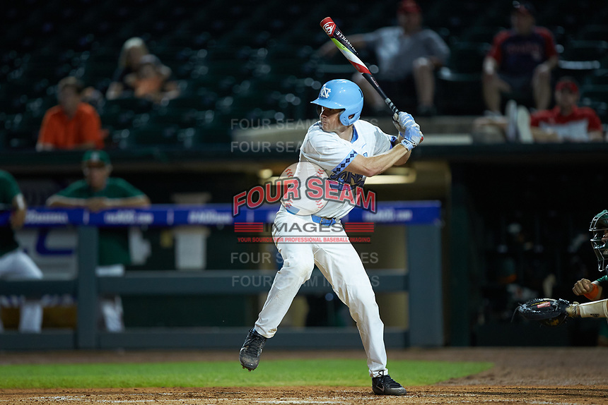 Tyler Lynn (14) of the North Carolina Tar Heels at bat against the Miami Hurricanes in the second semifinal of the 2017 ACC Baseball Championship at Louisville Slugger Field on May 27, 2017 in Louisville, Kentucky. The Tar Heels defeated the Hurricanes 12-4. (Brian Westerholt/Four Seam Images)