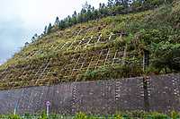 Guizhou, China, between Zhaoxing and Kaili.  Hillside Supports to Prevent Erosion alongside Highway.