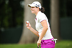 Caroline Masson waves to the crowd on the 11th green at the LPGA Championship 2014 Sponsored By Wegmans at Monroe Golf Club in Pittsford, New York on August 16, 2014