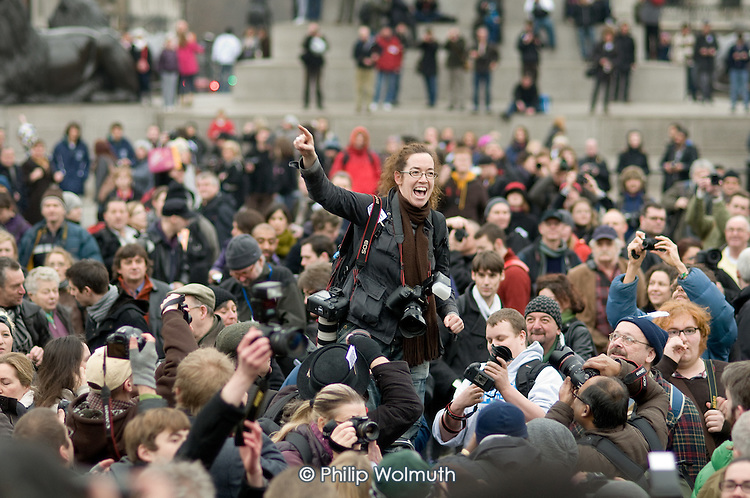 Photographer Jess Hurd speaks at an 'I'm a Photographer Not a Terrorist' protest in Trafalgar Square against the arbitary use of the terrorism laws to stop and search photographers.