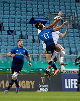 Friday 14th May 2021; Robert Baloucoune and Jacob Stockdale challenge Dave Kearney for this high ball during the Guinness PRO14 Rainbow Cup Round 3 clash between Leinster and Ulster at The RDS Arena, Ballsbridge, Dublin, Ireland. Photo by John Dickson/Dicksondigital