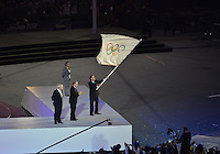 August 12, 2012..Mayor of Rio De Janeiro Eduardo Paes flies the Olympic flag at the conclusion of closing ceremony at the Olympic Stadium on the last day of 2012 Olympic Games in London, United Kingdom.