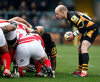 Photo: Richard Lane/Richard Lane Photography. London Wasps v London Welsh. 28/10/2012. Wasps' Joe Simpson feeds the ball into a scrum.