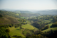 General view from the top of the of the  'sugar loaf' Powys, Wales, UK