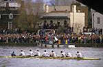 The Boat Race River Thames London England march Oxford Cambridge University England. Cambridge crew win boat race.  The English Season published by Pavilon Books 1987
