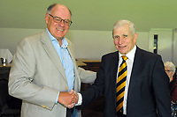 Ian Taylor (right) with Alisdair McBeth. Cricket Wellington membership badge presentations in the Long Room at the Basin Reserve in Wellington, New Zealand on Saturday, 14 November 2020. Photo: Dave Lintott / lintottphoto.co.nz